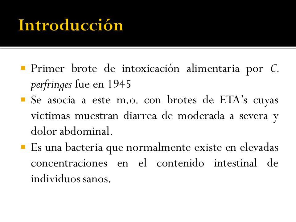 Primer brote de intoxicación alimentaria por C. perfringes fue en 1945 Se asocia a este m.o. con brotes de ETAs cuyas victimas muestran diarrea de mod