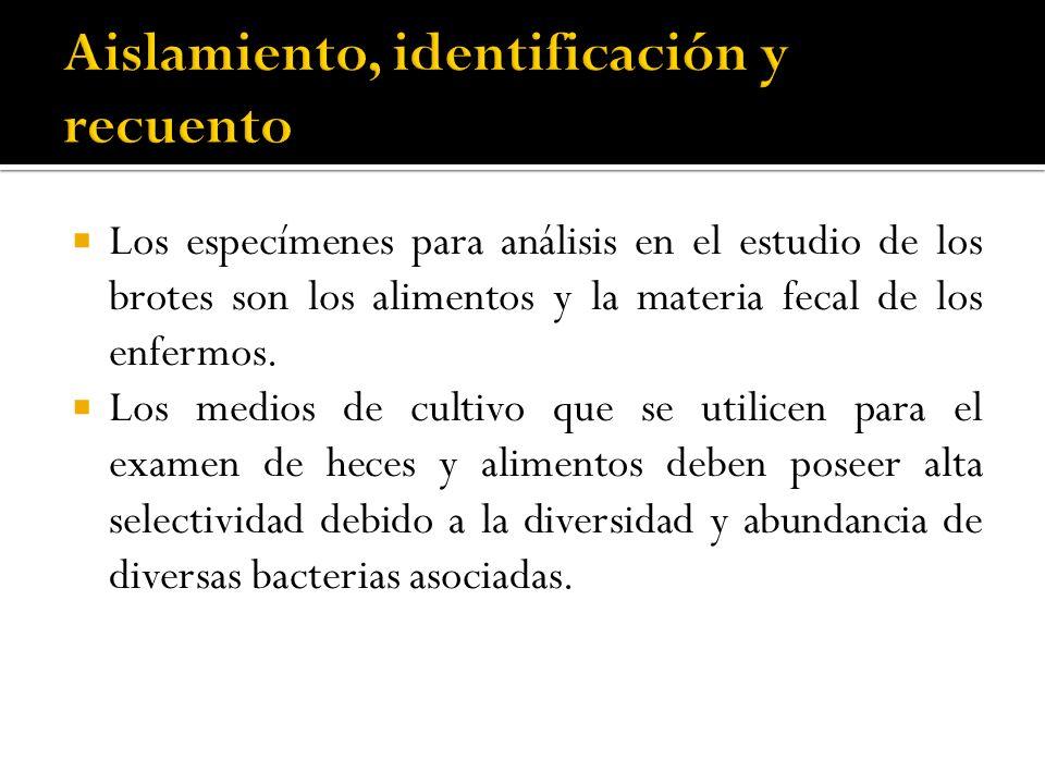 Los especímenes para análisis en el estudio de los brotes son los alimentos y la materia fecal de los enfermos. Los medios de cultivo que se utilicen