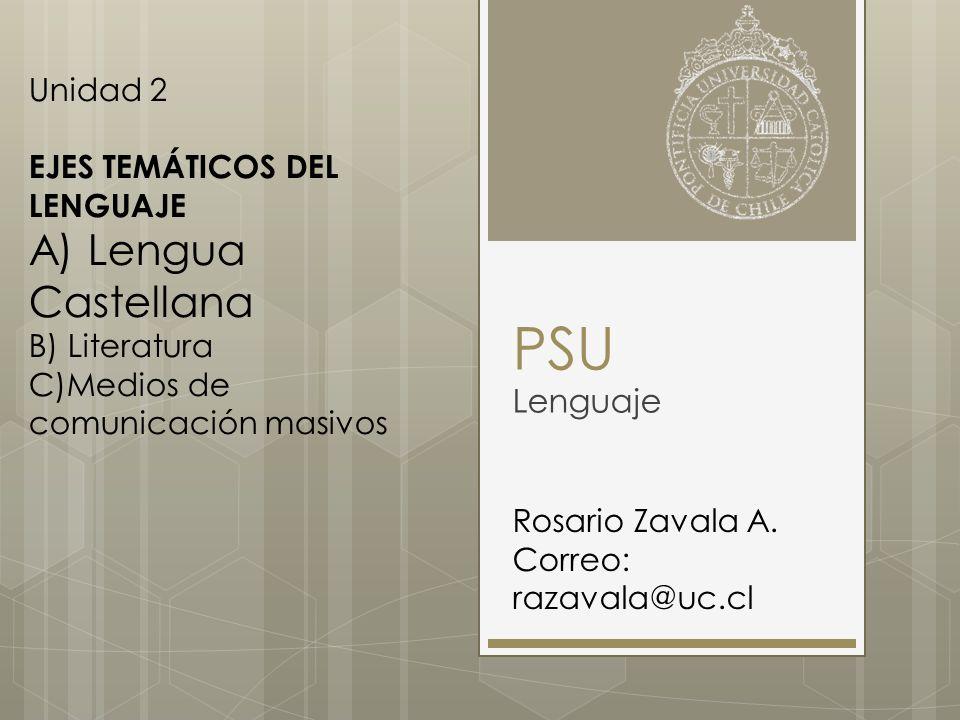 PSU Lenguaje Rosario Zavala A. Correo: razavala@uc.cl Unidad 2 EJES TEMÁTICOS DEL LENGUAJE A) Lengua Castellana B) Literatura C)Medios de comunicación