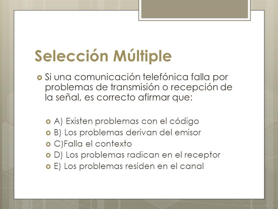 Selección Múltiple Si una comunicación telefónica falla por problemas de transmisión o recepción de la señal, es correcto afirmar que: A) Existen problemas con el código B) Los problemas derivan del emisor C)Falla el contexto D) Los problemas radican en el receptor E) Los problemas residen en el canal