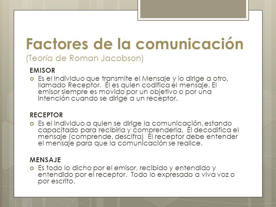 Factores de la comunicación (Teoría de Roman Jacobson) EMISOR Es el individuo que transmite el Mensaje y lo dirige a otro, llamado Receptor. Él es qui