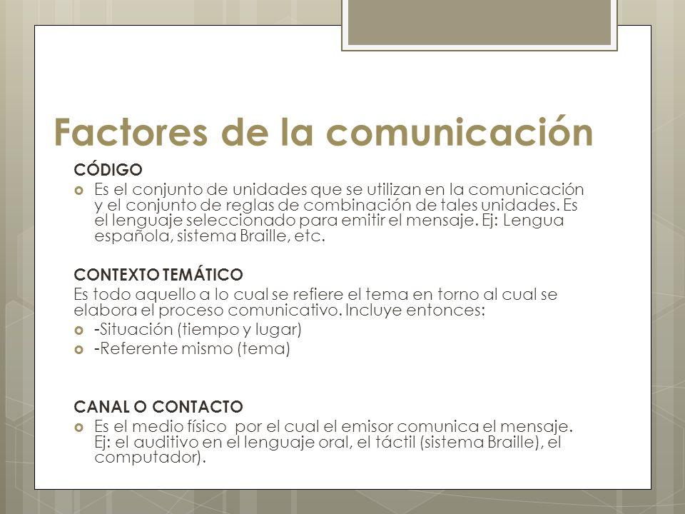 Factores de la comunicación CÓDIGO Es el conjunto de unidades que se utilizan en la comunicación y el conjunto de reglas de combinación de tales unida