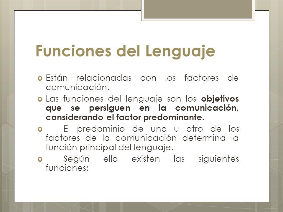 Funciones del Lenguaje Están relacionadas con los factores de comunicación. Las funciones del lenguaje son los objetivos que se persiguen en la comuni