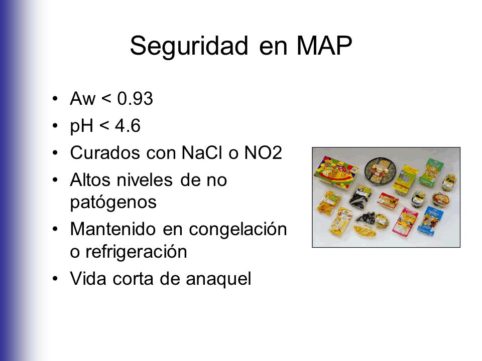 Seguridad en MAP Aw < 0.93 pH < 4.6 Curados con NaCl o NO2 Altos niveles de no patógenos Mantenido en congelación o refrigeración Vida corta de anaque