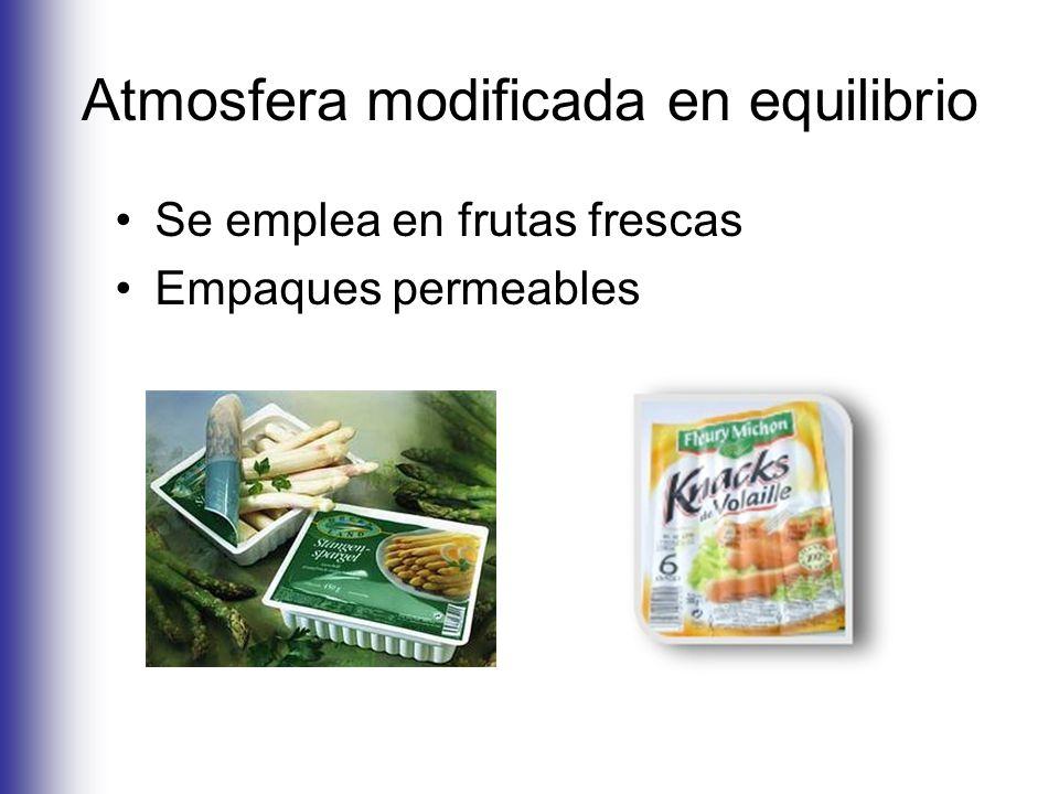 Atmosfera modificada en equilibrio Se emplea en frutas frescas Empaques permeables