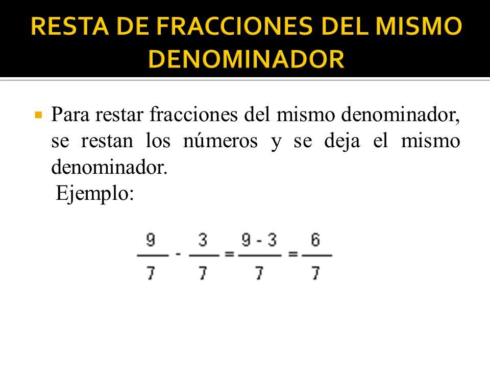 Para restar fracciones del mismo denominador, se restan los números y se deja el mismo denominador. Ejemplo: