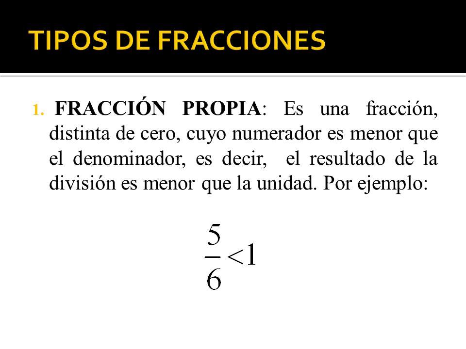1. FRACCIÓN PROPIA: Es una fracción, distinta de cero, cuyo numerador es menor que el denominador, es decir, el resultado de la división es menor que