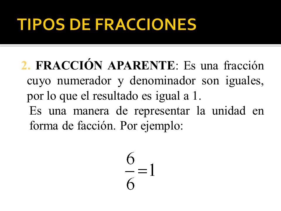 2. FRACCIÓN APARENTE: Es una fracción cuyo numerador y denominador son iguales, por lo que el resultado es igual a 1. Es una manera de representar la