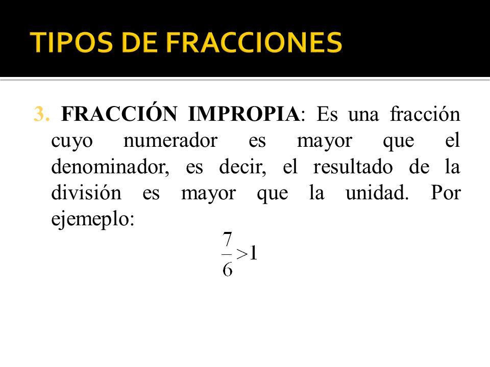3. FRACCIÓN IMPROPIA: Es una fracción cuyo numerador es mayor que el denominador, es decir, el resultado de la división es mayor que la unidad. Por ej