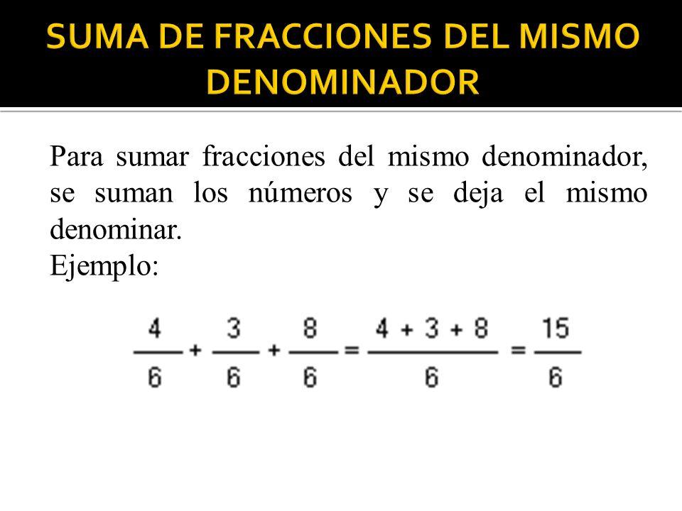 Para sumar fracciones del mismo denominador, se suman los números y se deja el mismo denominar. Ejemplo: