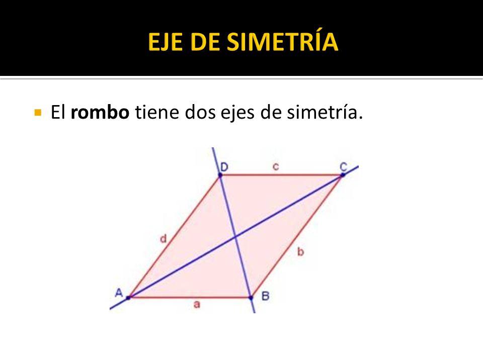 El rombo tiene dos ejes de simetría.