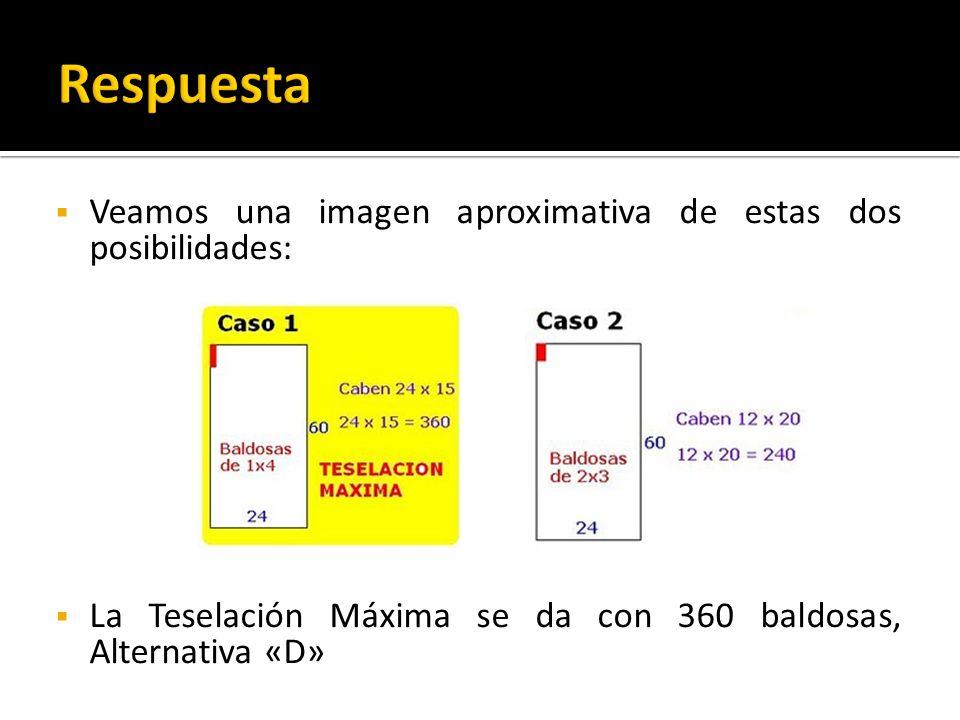 Veamos una imagen aproximativa de estas dos posibilidades: La Teselación Máxima se da con 360 baldosas, Alternativa «D»