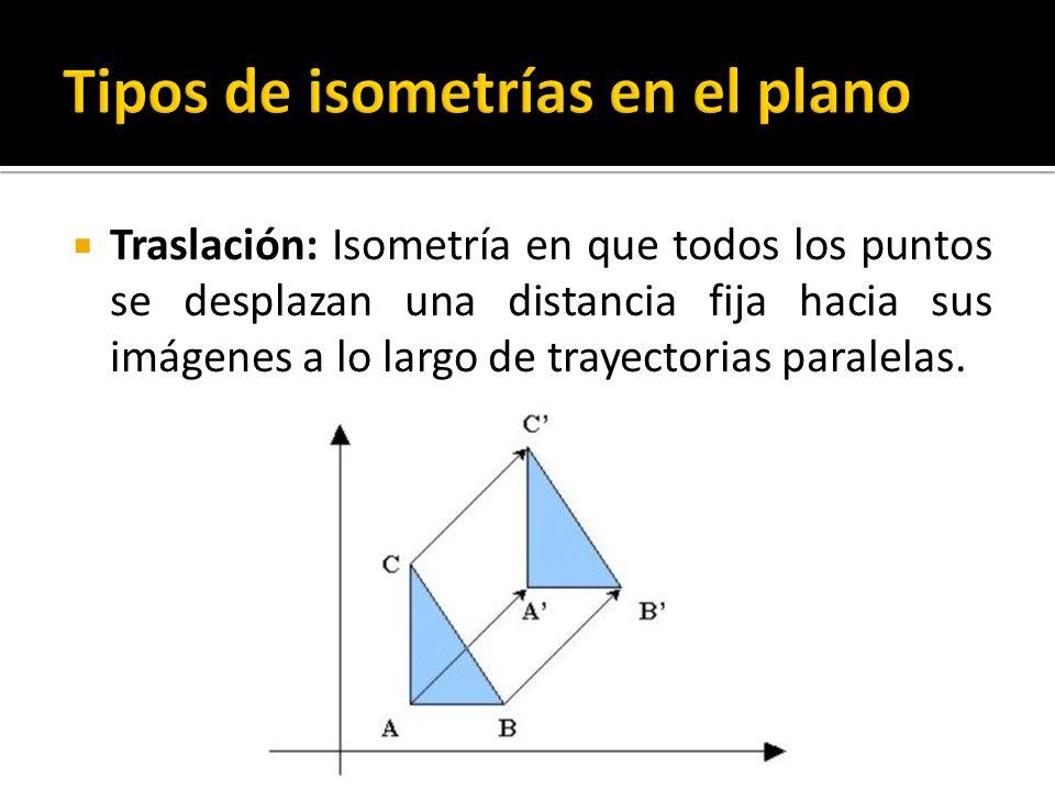 Traslación: Isometría en que todos los puntos se desplazan una distancia fija hacia sus imágenes a lo largo de trayectorias paralelas.