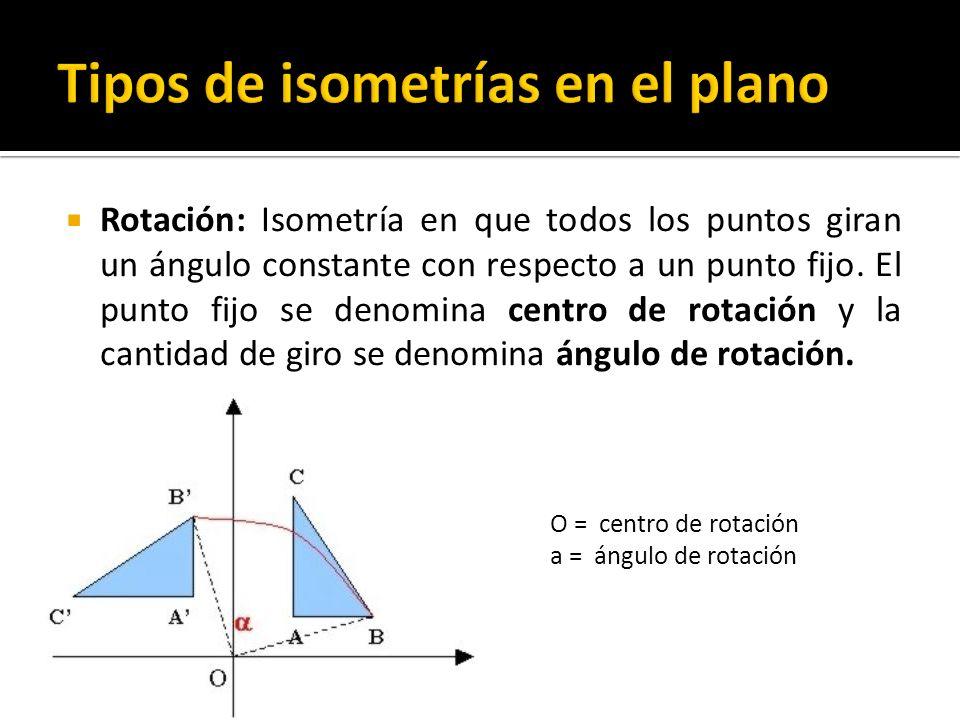 Rotación: Isometría en que todos los puntos giran un ángulo constante con respecto a un punto fijo. El punto fijo se denomina centro de rotación y la