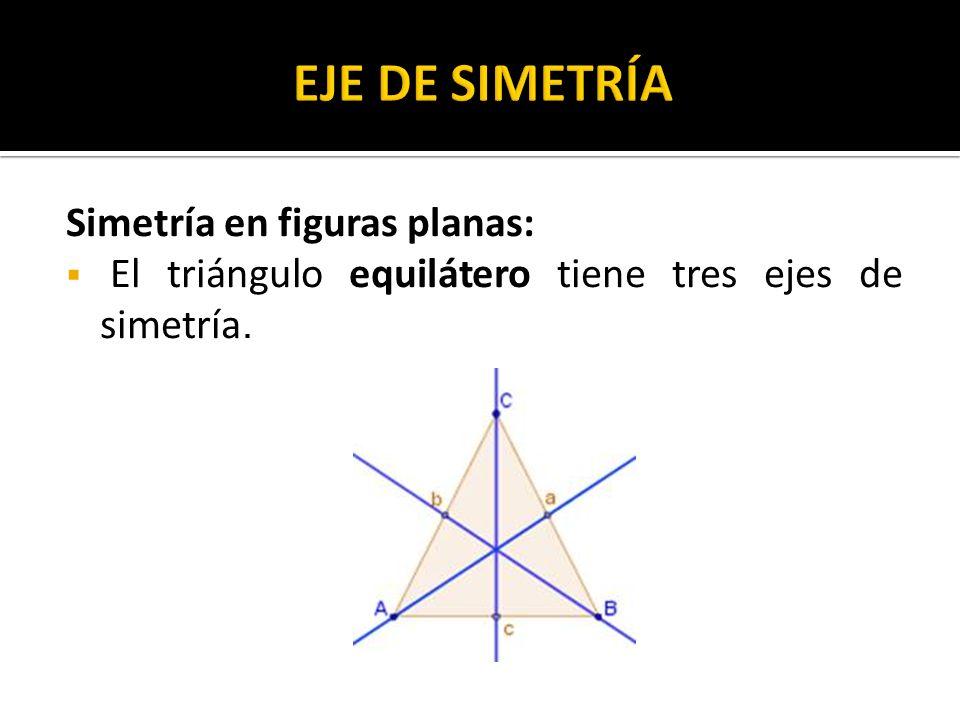 Simetría en figuras planas: El triángulo equilátero tiene tres ejes de simetría.