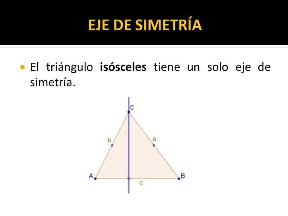 El triángulo isósceles tiene un solo eje de simetría.