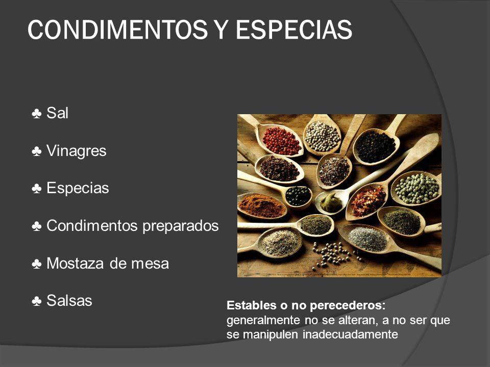 CONDIMENTOS Y ESPECIAS Sal Vinagres Especias Condimentos preparados Mostaza de mesa Salsas Estables o no perecederos: generalmente no se alteran, a no