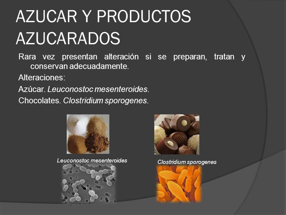 AZUCAR Y PRODUCTOS AZUCARADOS Rara vez presentan alteración si se preparan, tratan y conservan adecuadamente. Alteraciones: Azúcar. Leuconostoc mesent