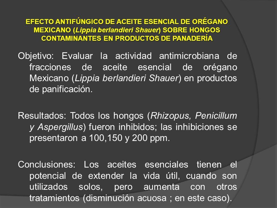 Objetivo: Evaluar la actividad antimicrobiana de fracciones de aceite esencial de orégano Mexicano (Lippia berlandieri Shauer) en productos de panific