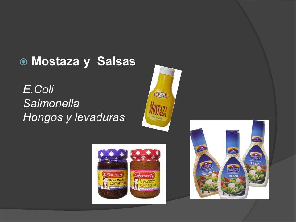 Mostaza y Salsas E.Coli Salmonella Hongos y levaduras