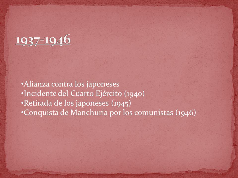 Alianza contra los japoneses Incidente del Cuarto Ejército (1940) Retirada de los japoneses (1945) Conquista de Manchuria por los comunistas (1946)