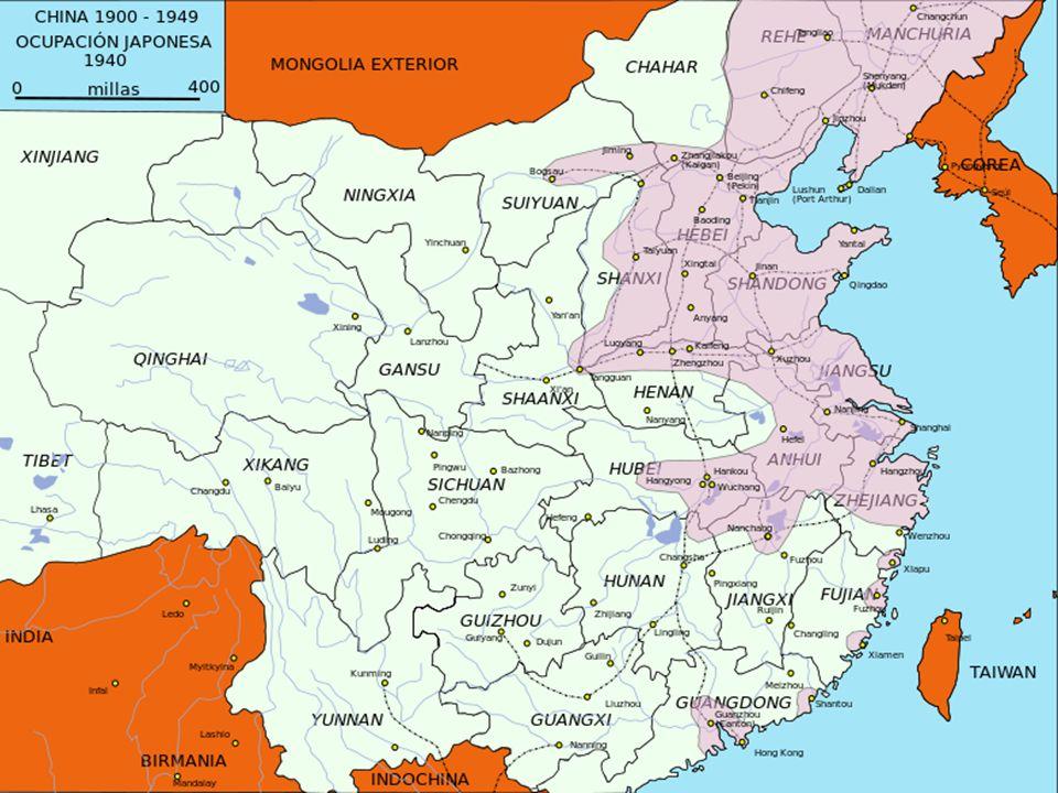 Renovación del conflicto entre KMT y PCCh Superioridad territorial de PCCh Gran ofensiva comunista (1947) Declaración de la República Popular China (1 octubre 1949)