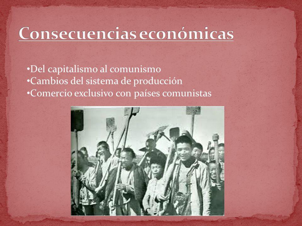 Del capitalismo al comunismo Cambios del sistema de producción Comercio exclusivo con países comunistas