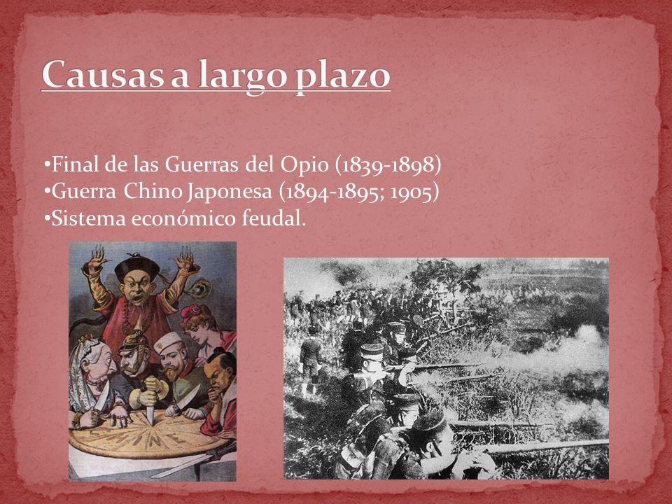 Final de las Guerras del Opio (1839-1898) Guerra Chino Japonesa (1894-1895; 1905) Sistema económico feudal.