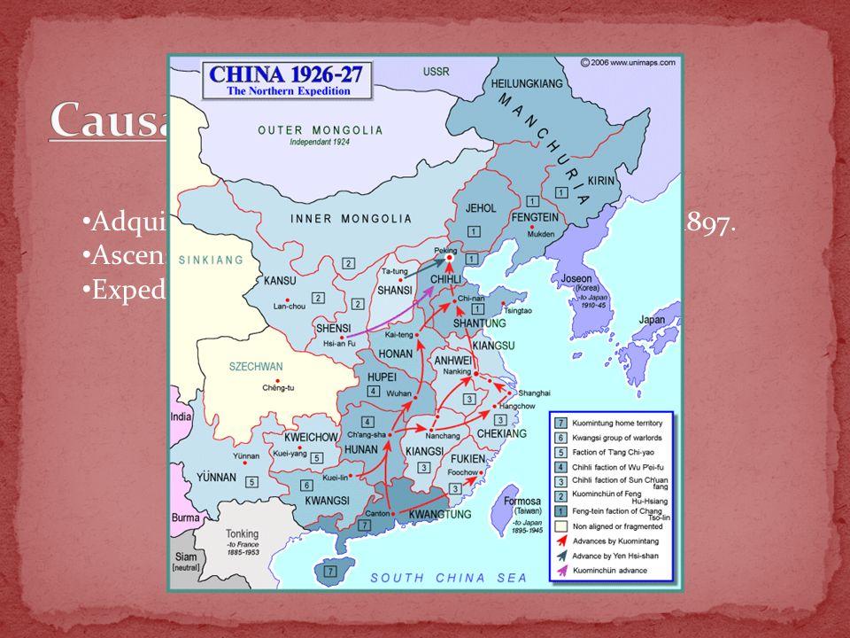 Adquisición de Shantung por parte de Japón en 1897. Ascenso al poder del Kuomintang en 1912. Expedición del Norte en 1922.