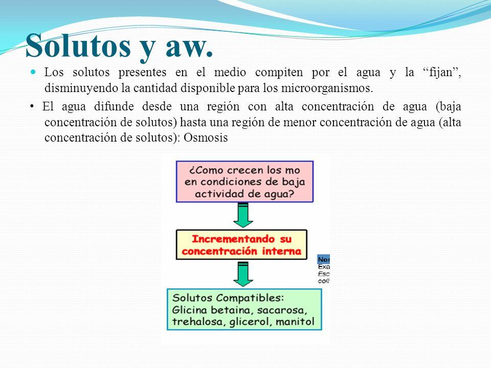 Solutos y aw. Los solutos presentes en el medio compiten por el agua y la fijan, disminuyendo la cantidad disponible para los microorganismos. El agua
