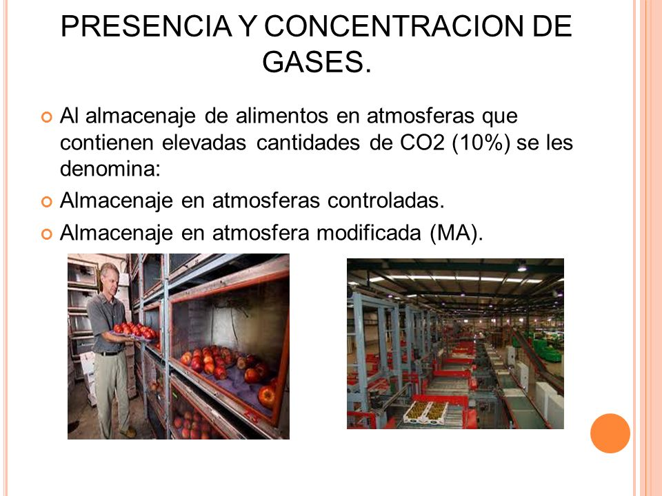 PRESENCIA Y CONCENTRACION DE GASES. Al almacenaje de alimentos en atmosferas que contienen elevadas cantidades de CO2 (10%) se les denomina: Almacenaj