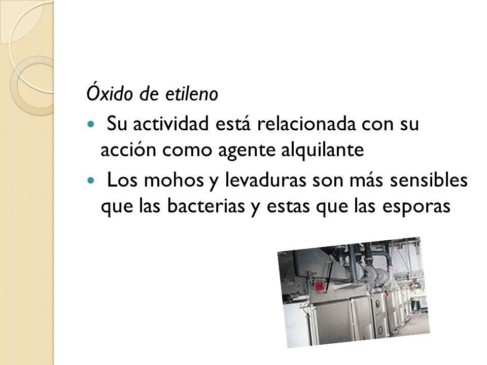 Óxido de etileno Su actividad está relacionada con su acción como agente alquilante Los mohos y levaduras son más sensibles que las bacterias y estas