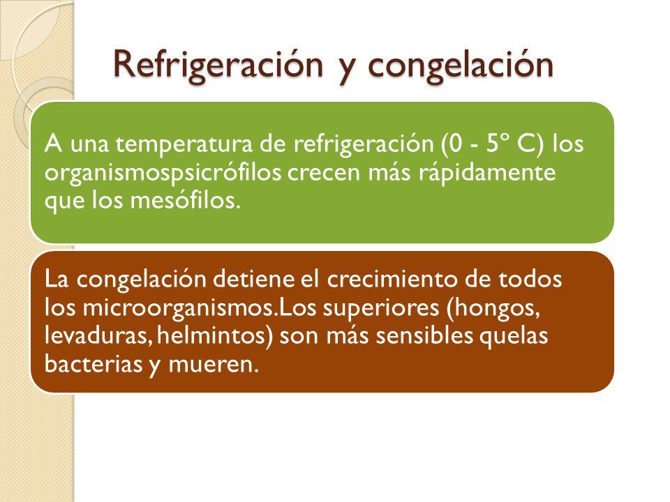 Refrigeración y congelación A una temperatura de refrigeración (0 - 5º C) los organismospsicrófilos crecen más rápidamente que los mesófilos. La conge
