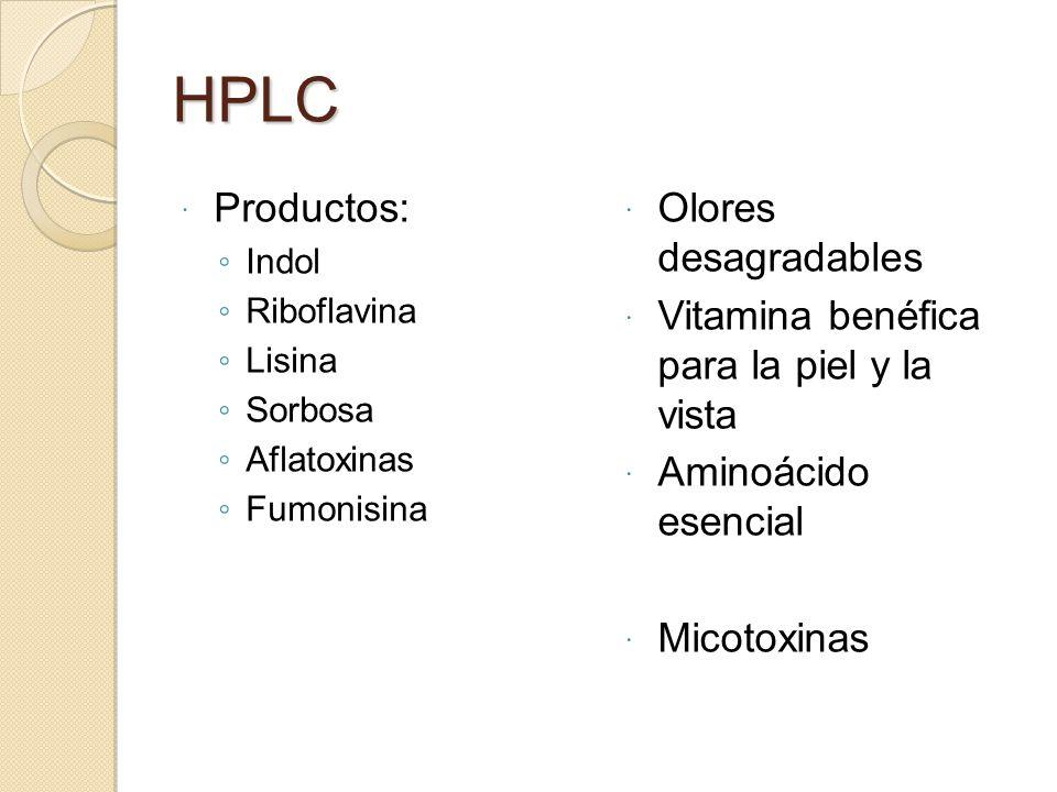 HPLC Productos: Indol Riboflavina Lisina Sorbosa Aflatoxinas Fumonisina Olores desagradables Vitamina benéfica para la piel y la vista Aminoácido esen