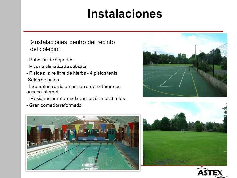 Instalaciones - Pabellón de deportes - Piscina climatizada cubierta - Pistas al aire libre de hierba - 4 pistas tenis -Salón de actos - Laboratorio de