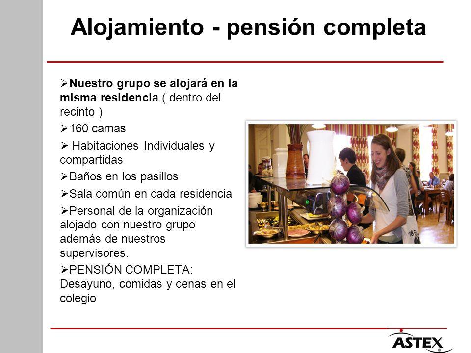 Alojamiento - pensión completa Nuestro grupo se alojará en la misma residencia ( dentro del recinto ) 160 camas Habitaciones Individuales y compartida