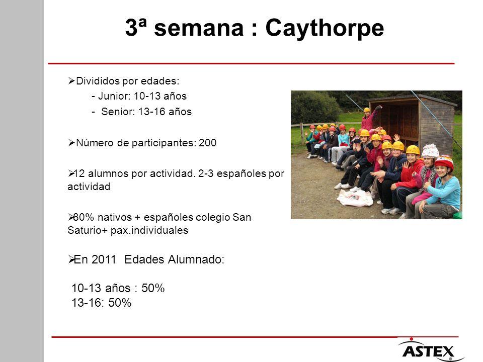 3ª semana : Caythorpe Divididos por edades: - Junior: 10-13 años - Senior: 13-16 años Número de participantes: 200 12 alumnos por actividad. 2-3 españ