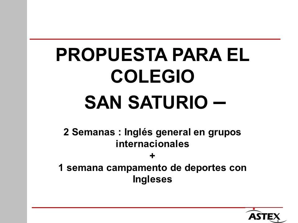 PROPUESTA PARA EL COLEGIO SAN SATURIO – 2 Semanas : Inglés general en grupos internacionales + 1 semana campamento de deportes con Ingleses