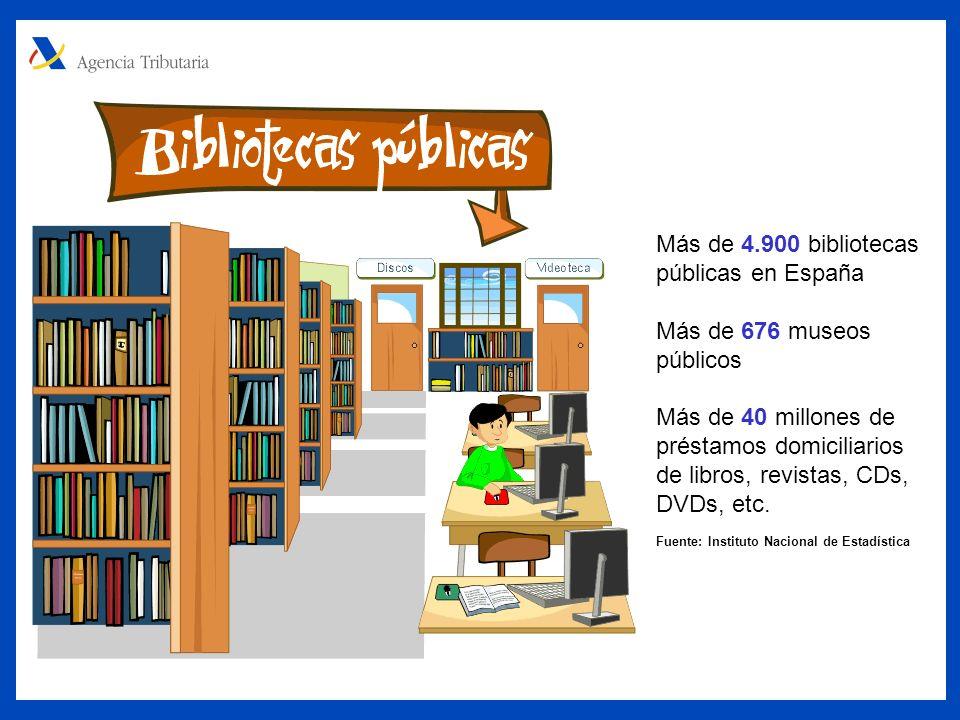 Más de 4.900 bibliotecas públicas en España Más de 676 museos públicos Más de 40 millones de préstamos domiciliarios de libros, revistas, CDs, DVDs, etc.