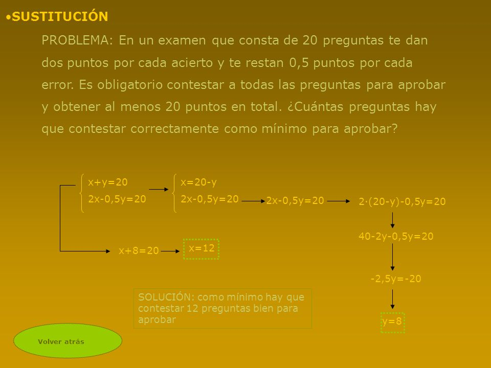 Volver atrás PROBLEMA: En un examen que consta de 20 preguntas te dan dos puntos por cada acierto y te restan 0,5 puntos por cada error. Es obligatori