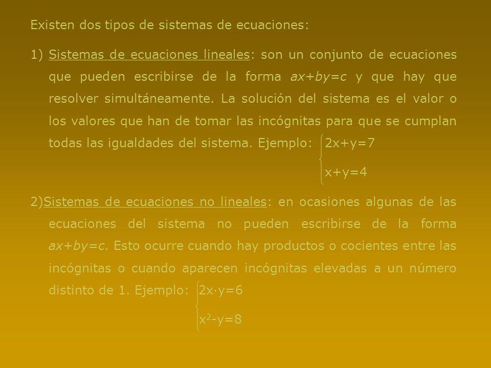 Existen dos tipos de sistemas de ecuaciones: 1)Sistemas de ecuaciones lineales: son un conjunto de ecuaciones que pueden escribirse de la forma ax+by=