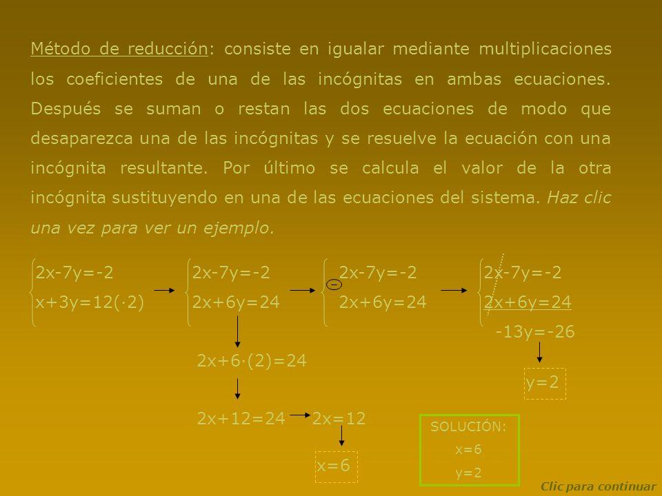 Método de reducción: consiste en igualar mediante multiplicaciones los coeficientes de una de las incógnitas en ambas ecuaciones. Después se suman o r