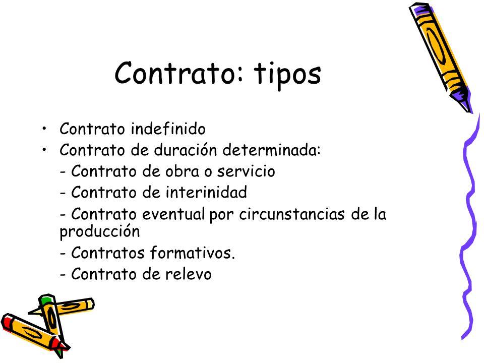 Contrato: tipos Contrato indefinido Contrato de duración determinada: - Contrato de obra o servicio - Contrato de interinidad - Contrato eventual por