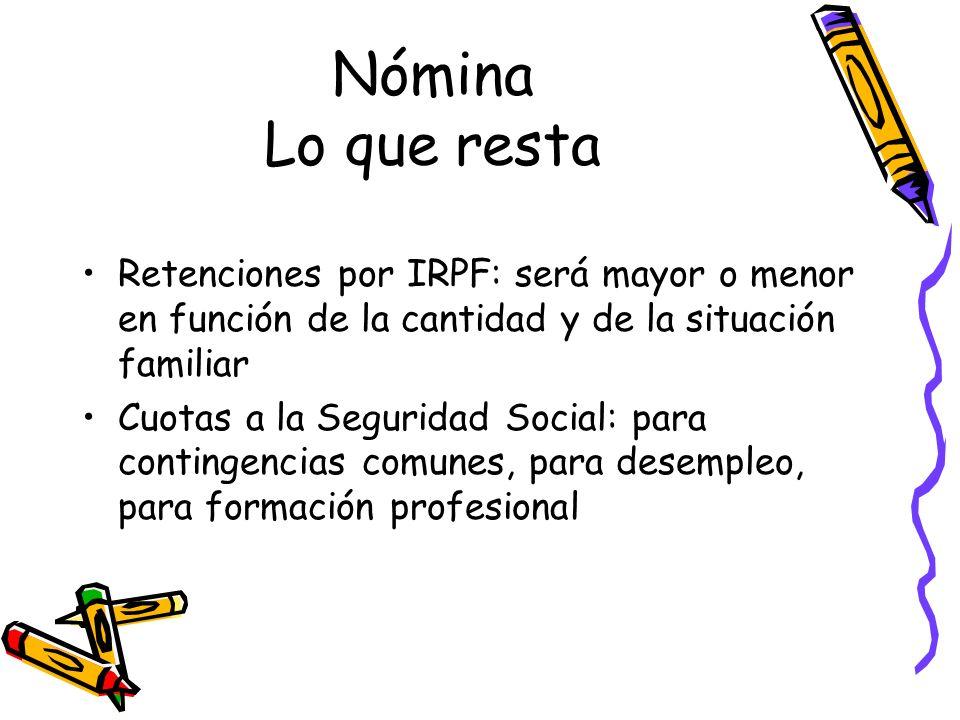 Nómina Lo que resta Retenciones por IRPF: será mayor o menor en función de la cantidad y de la situación familiar Cuotas a la Seguridad Social: para c