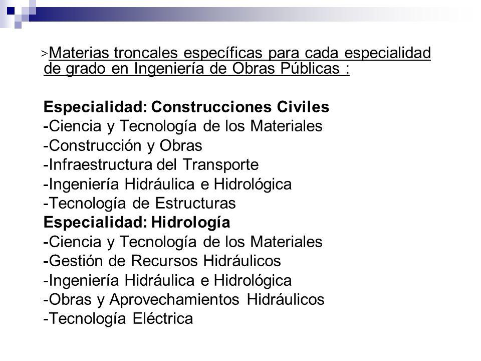 > Materias troncales específicas para cada especialidad de grado en Ingeniería de Obras Públicas : Especialidad: Construcciones Civiles -Ciencia y Tec