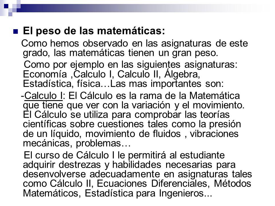 El peso de las matemáticas: Como hemos observado en las asignaturas de este grado, las matemáticas tienen un gran peso. Como por ejemplo en las siguie