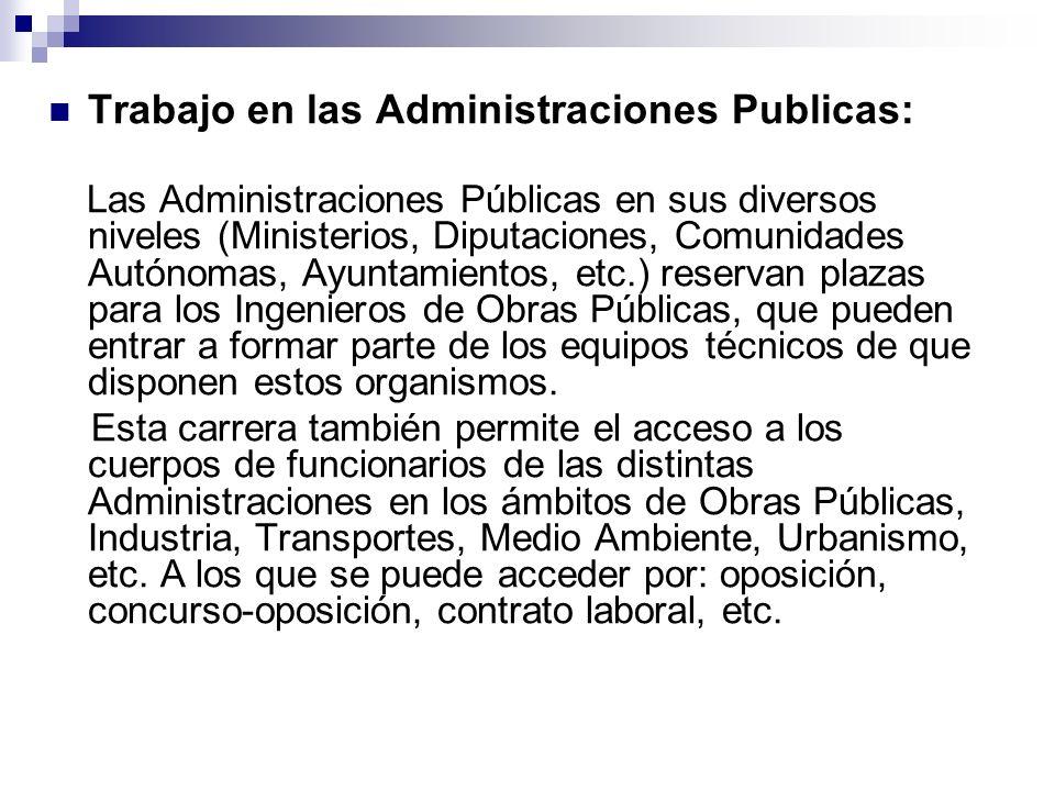 Trabajo en las Administraciones Publicas: Las Administraciones Públicas en sus diversos niveles (Ministerios, Diputaciones, Comunidades Autónomas, Ayu