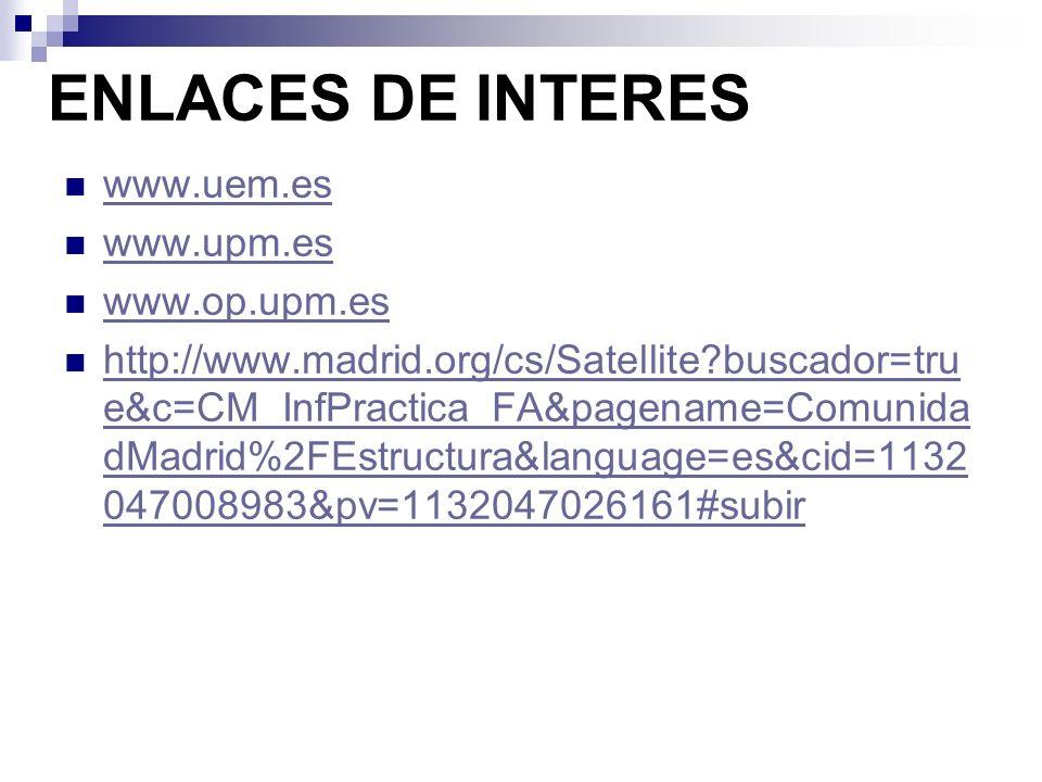ENLACES DE INTERES www.uem.es www.upm.es www.op.upm.es http://www.madrid.org/cs/Satellite?buscador=tru e&c=CM_InfPractica_FA&pagename=Comunida dMadrid