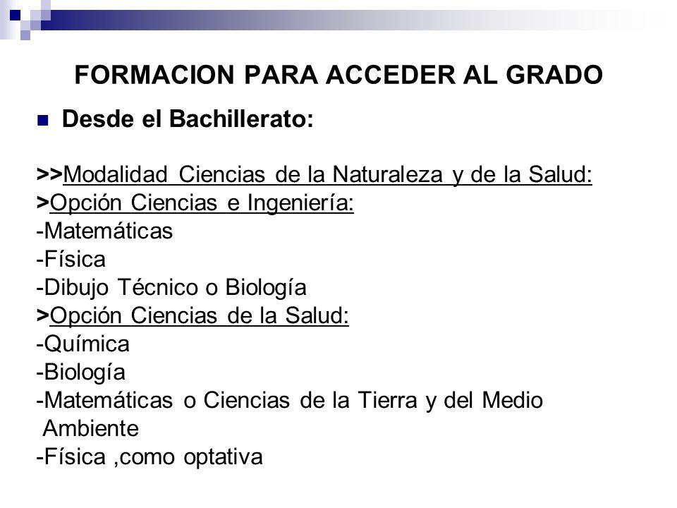 FORMACION PARA ACCEDER AL GRADO Desde el Bachillerato: >>Modalidad Ciencias de la Naturaleza y de la Salud: >Opción Ciencias e Ingeniería: -Matemática