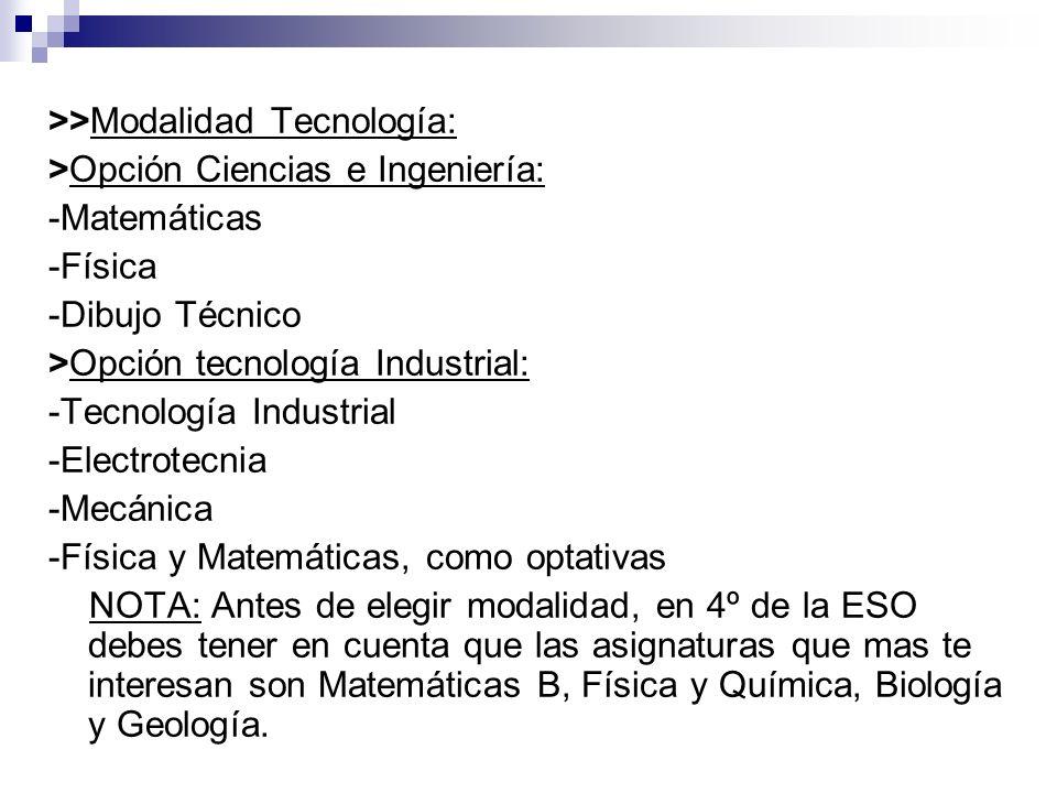 >>Modalidad Tecnología: >Opción Ciencias e Ingeniería: -Matemáticas -Física -Dibujo Técnico >Opción tecnología Industrial: -Tecnología Industrial -Ele